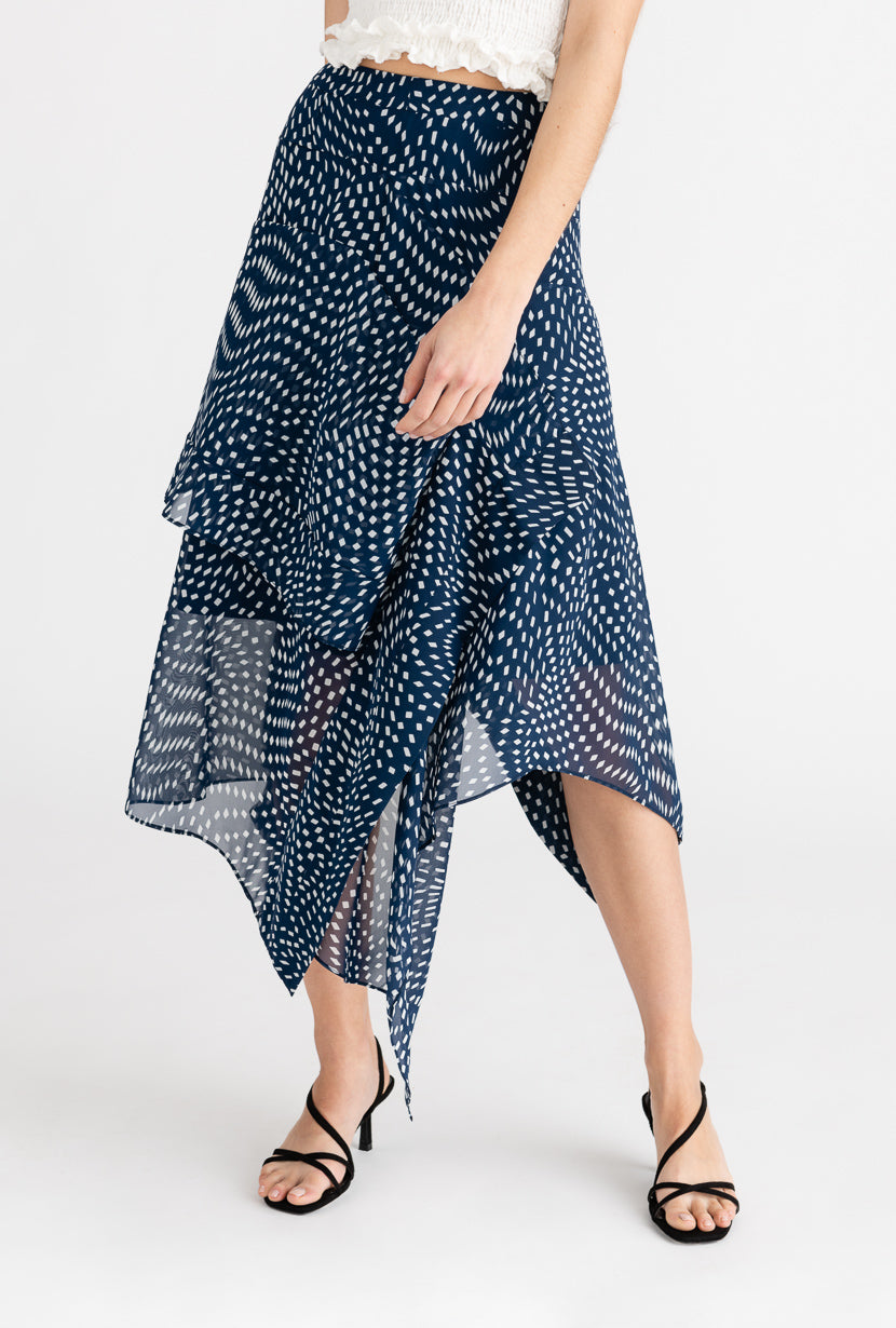 Ella Skirt-Midnight-navy blue cascading ruffled chiffon midi skirt-Petite Studio NYC