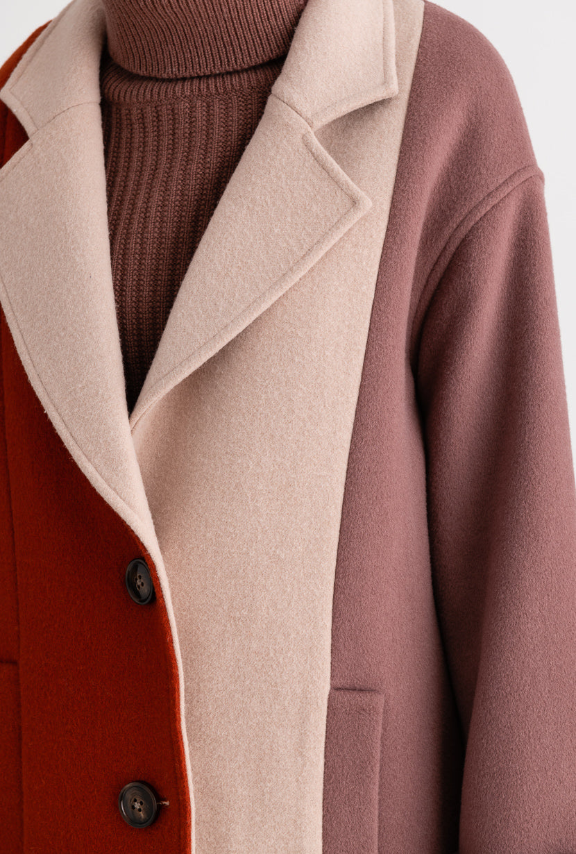 Heidi Wool Coat - Orange & Rose - Orange and rose vertical color block wool blend coat - Petite Studio NYC