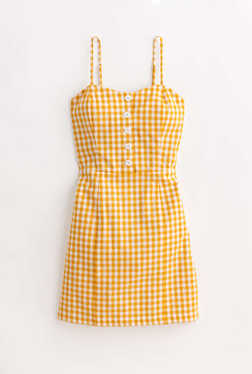 Lola Dress-Yellow Gingham-yellow gingham mini cotton dress-Petite Studio NYC