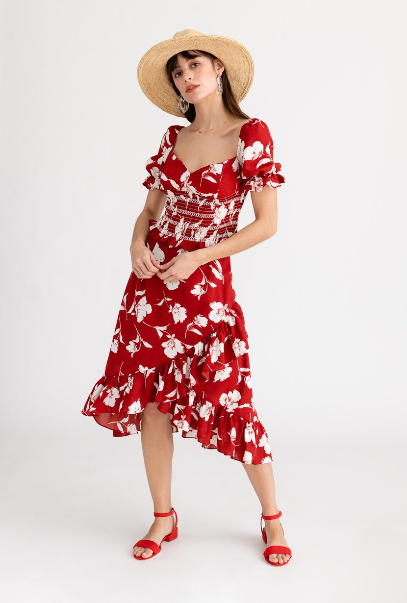 Eden Skirt-Red Floral-dresses-Petite Studio