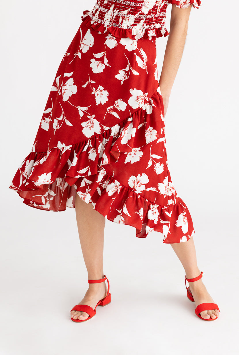 Eden Skirt-Red Floral-red floral midi wrap skirt-Petite Studio NYC
