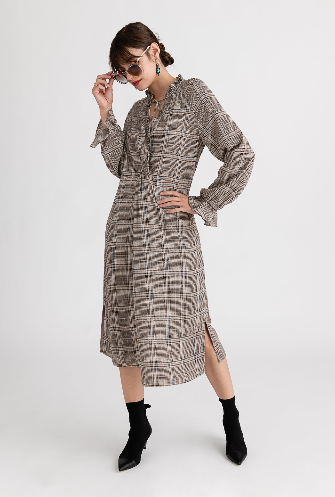 Clementine Dress - Static Plaid - Grey plaid ruffled neck side slit midi dress - Petite Studio NYC