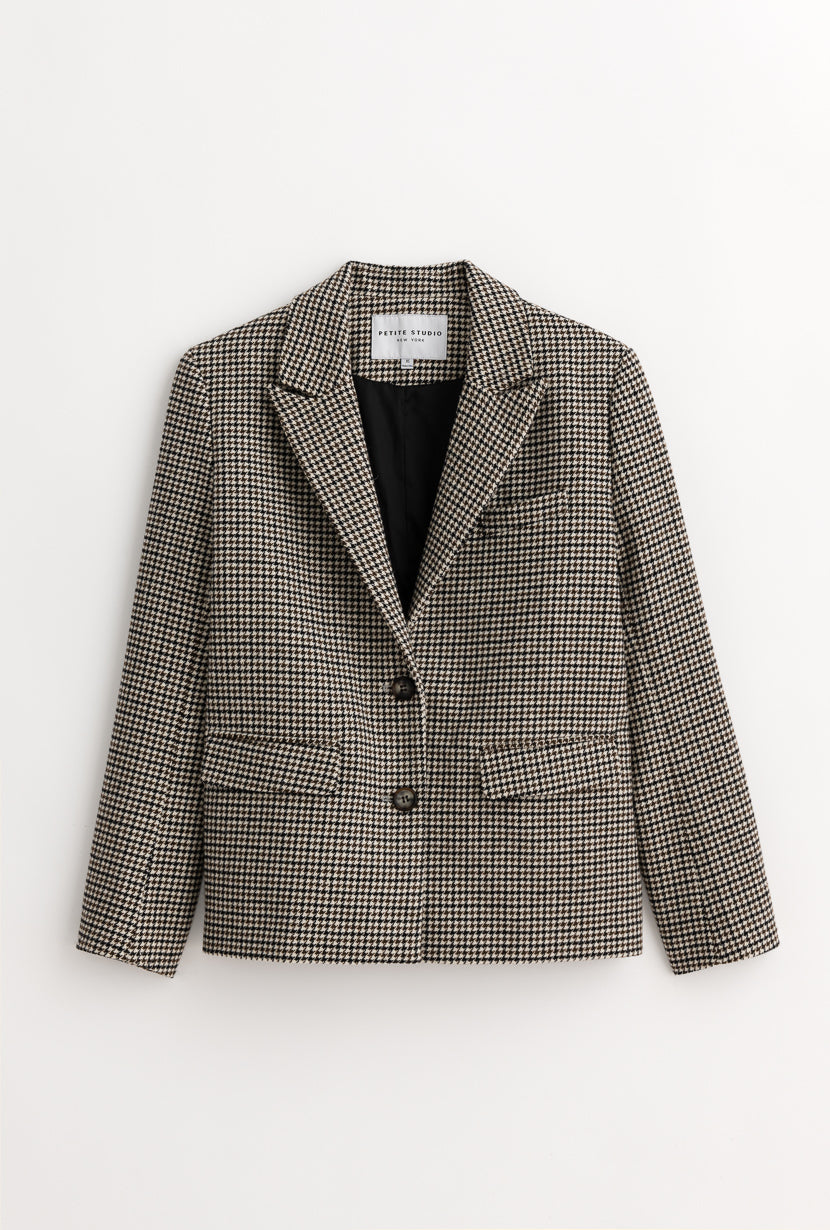 Bennet Jacket - Grey Plaid - Loose fit blazer - Petite Studio NYC