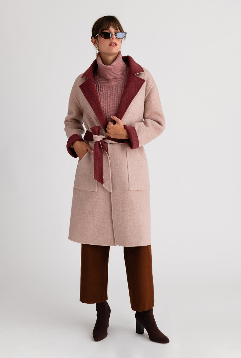 Elsa Australian wool Coat - Rose & Pink - Rose and beige double-sided reversible wool coat with detachable faux rabbit fur collar and detachable belt - Petite Studio NYC
