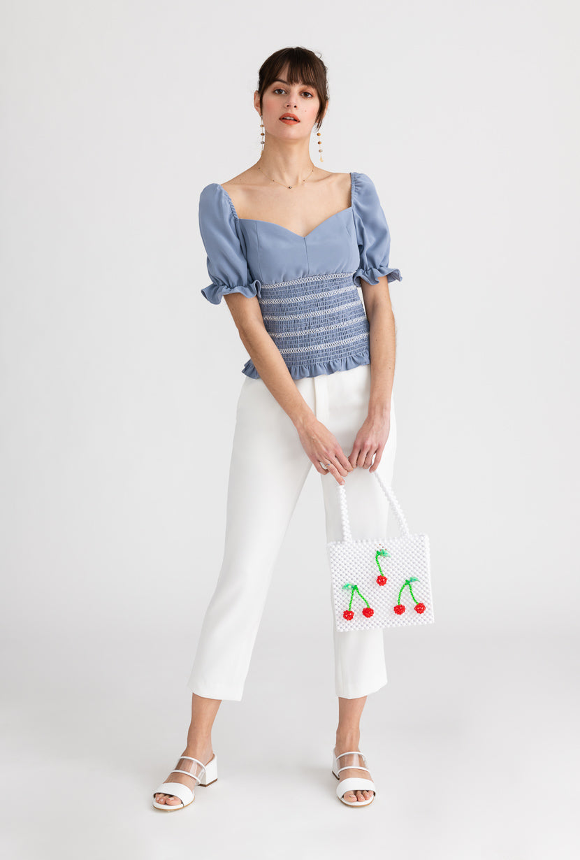 Mallow Top-Vivid Blue-vivid blue puffed sleeves top-Petite Studio NYC