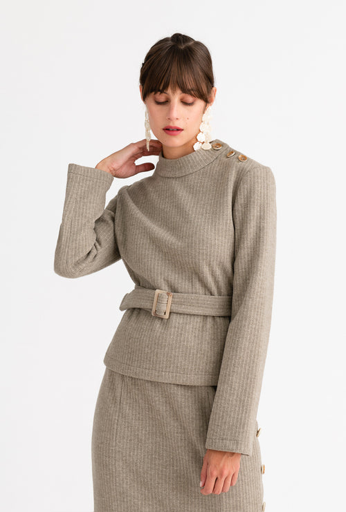 Ingrid Sweater - Light Moss - Light moss color mock neck button detailed relaxed fit sweater with detachable waist belt - Petite Studio NYC