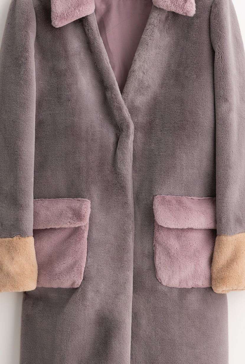 Helena Coat - Lavendar - Lavendar color combo oversized coat with faux rabbit fur collar and front patch pockets - Petite Studio NYC
