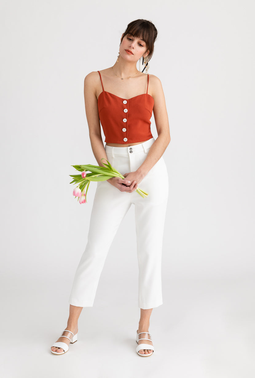 Clover Top-Cherry Red-cherry red crop top -Petite Studio NYC