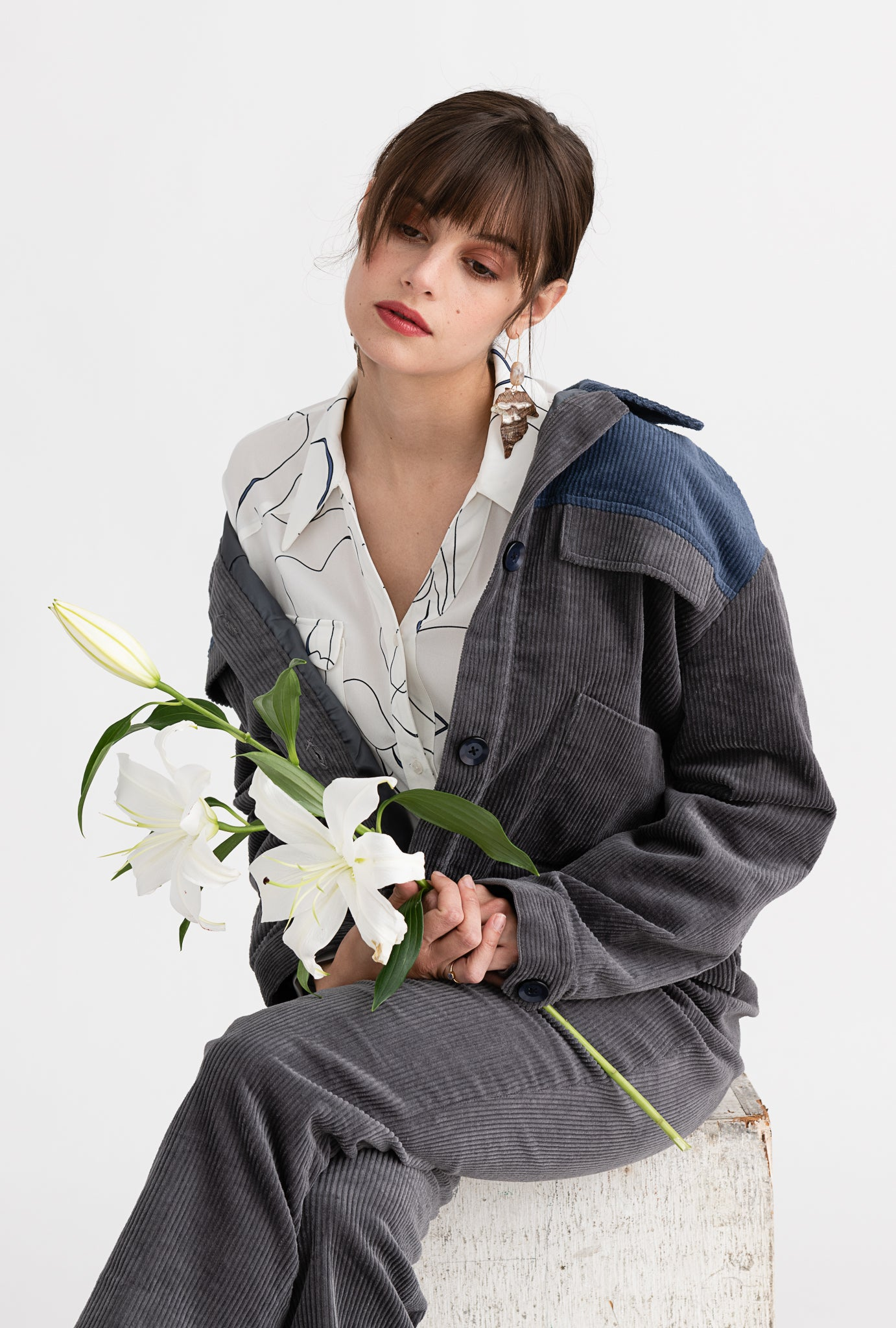Weston Jacket - Twilight - Navy and grey oversized drop shoulder jacket - Petite Studio NYC