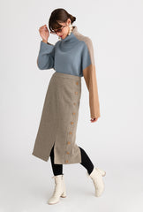 Agnes Skirt - Light Moss - Light moss color pencil skirt with side button details and slits in the front and back - Petite Studio NYC