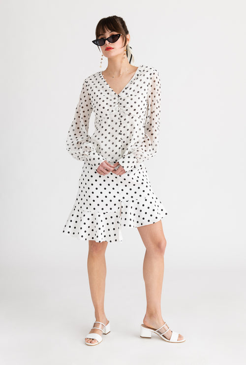 Ambrosia Top-Black and white polka dot chiffon long sleeve top-Petite Studio NYC