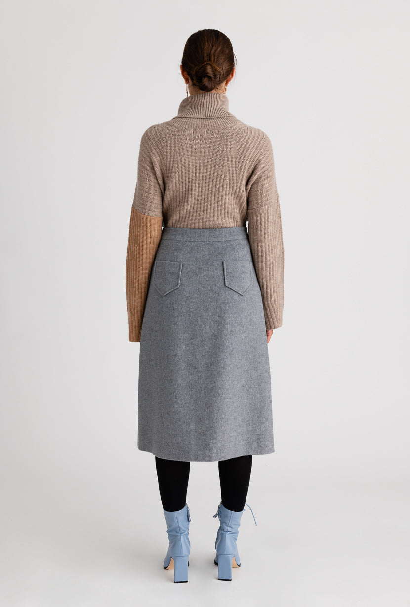 Mercer Wool Skirt - Grey - Grey A-line tweed skirt with adjustable zipper opening in the front - Petite Studio NYC