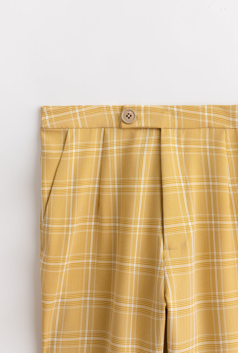 Heather  Pants-Yellow Plaid-bottoms-Petite Studio