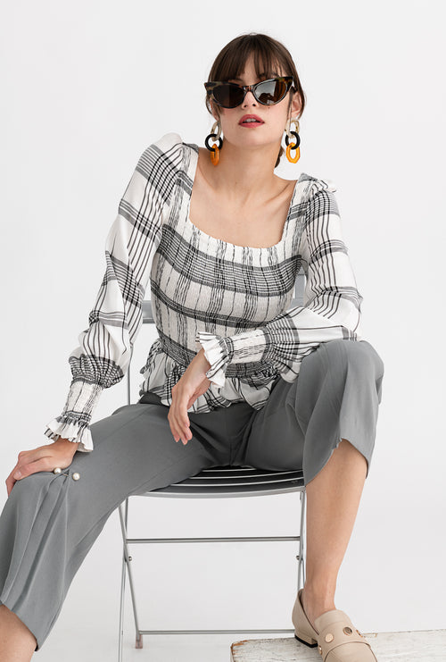 Bronte Top - Lindy Plaid - Black and white plaid smocked bodice long-sleeve top - Petite Studio NYC