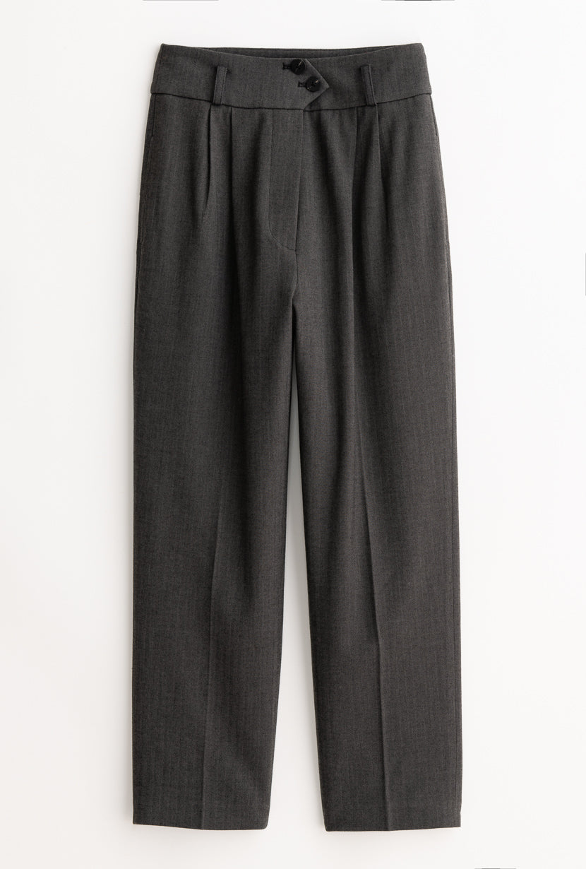 Marta Pants - Graphite - Grey super high waisted wide waistband pants - Petite Studio NYC