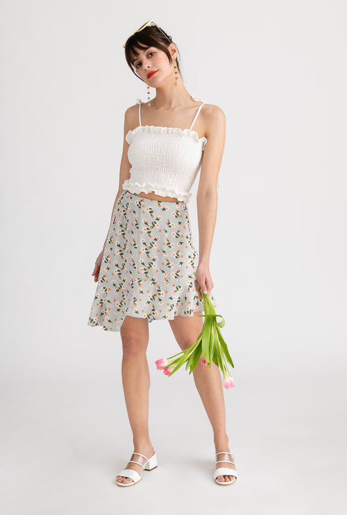 Ava Skirt-Sage Floral-light green floral high-low mini skirt-Petite Studio NYC