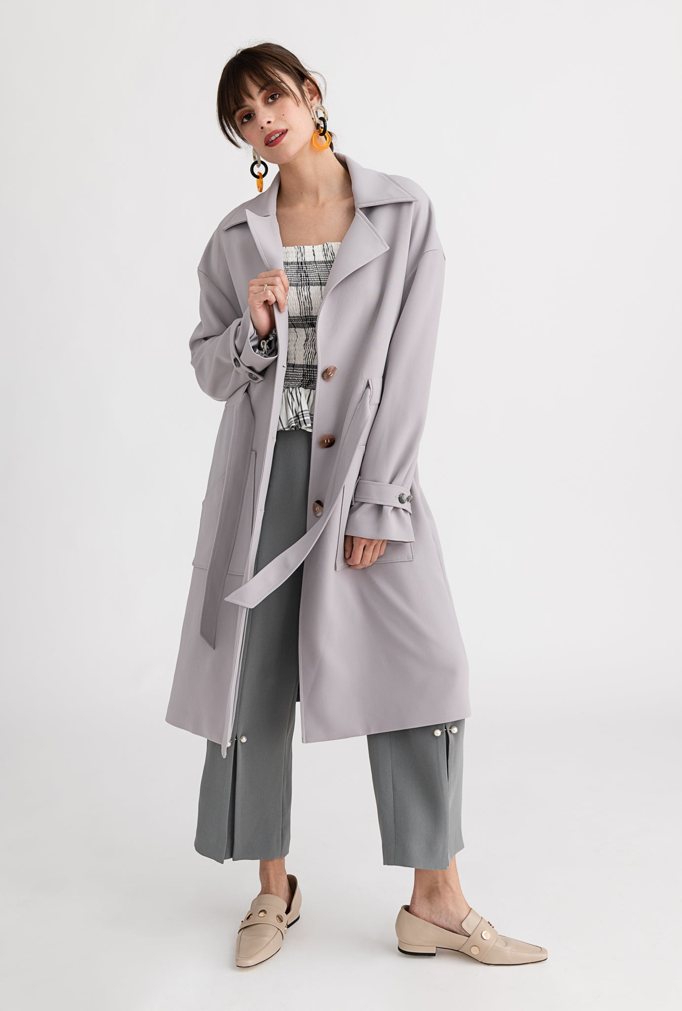Darcy Trench - Stone - Grey flowy drop shoulder trench coat with belt tie - Petite Studio NYC