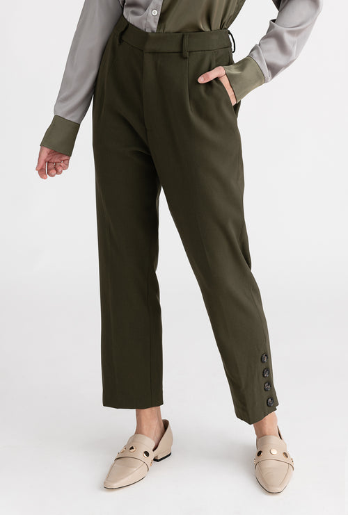 Yolande Pants - Moss - Button side detailed slim fit suit pants - Petite Studio NYC