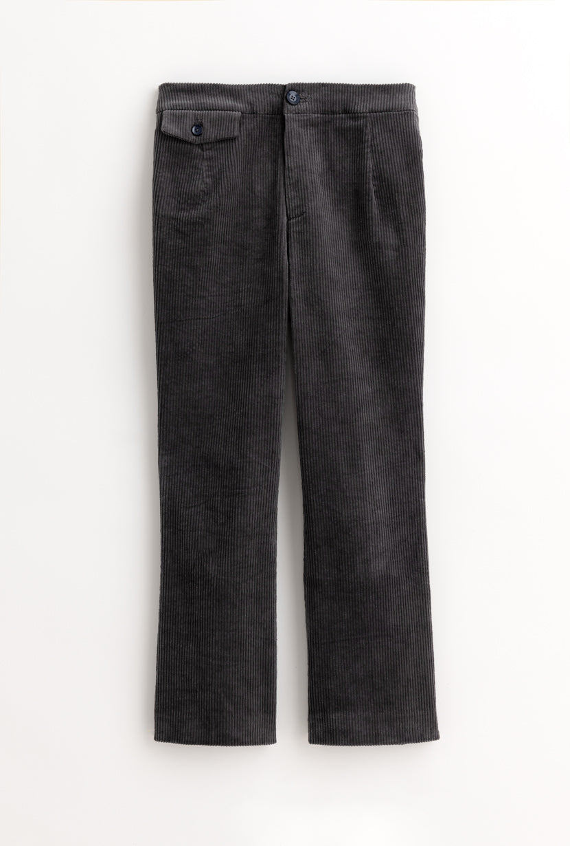 Cassia Pants - Ash - Graphite high waisted flare hem pants - Petite Studio NYC