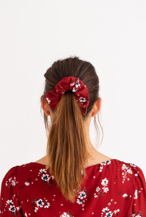 Scrunchies - Red Floral-Accessories-Petite Studio