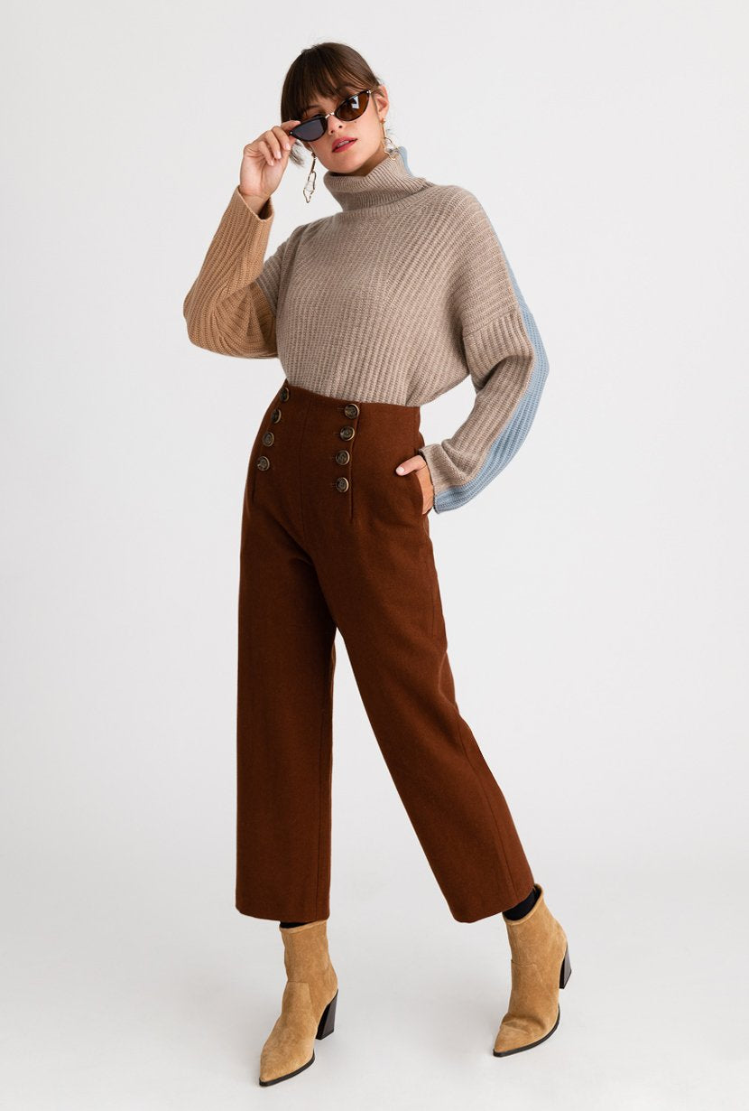 Gretel Pants - mocha - mocha high waisted slim fit wool blend pants with double front buttons detail - Petite Studio NYC