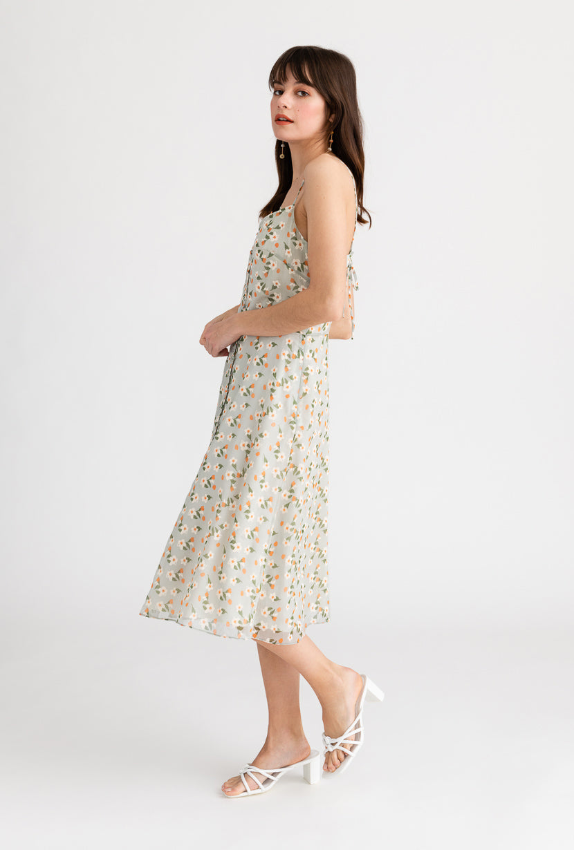 Kate Dress-Sage Floral-light green floral midi dress-Petite Studio NYC