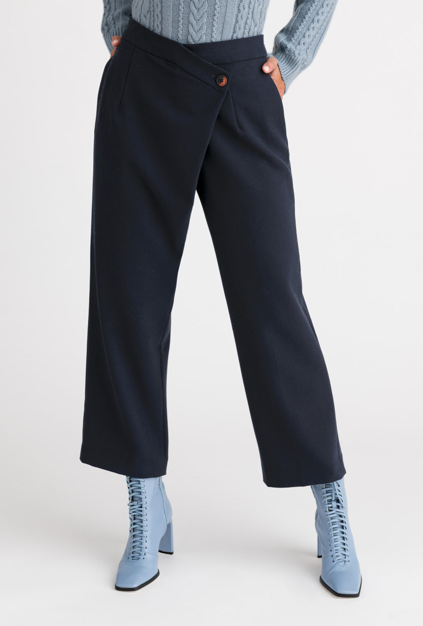 Bella Pants - Navy - Navy wrap over slim silhouette high waisted pants - Petite Studio NYC