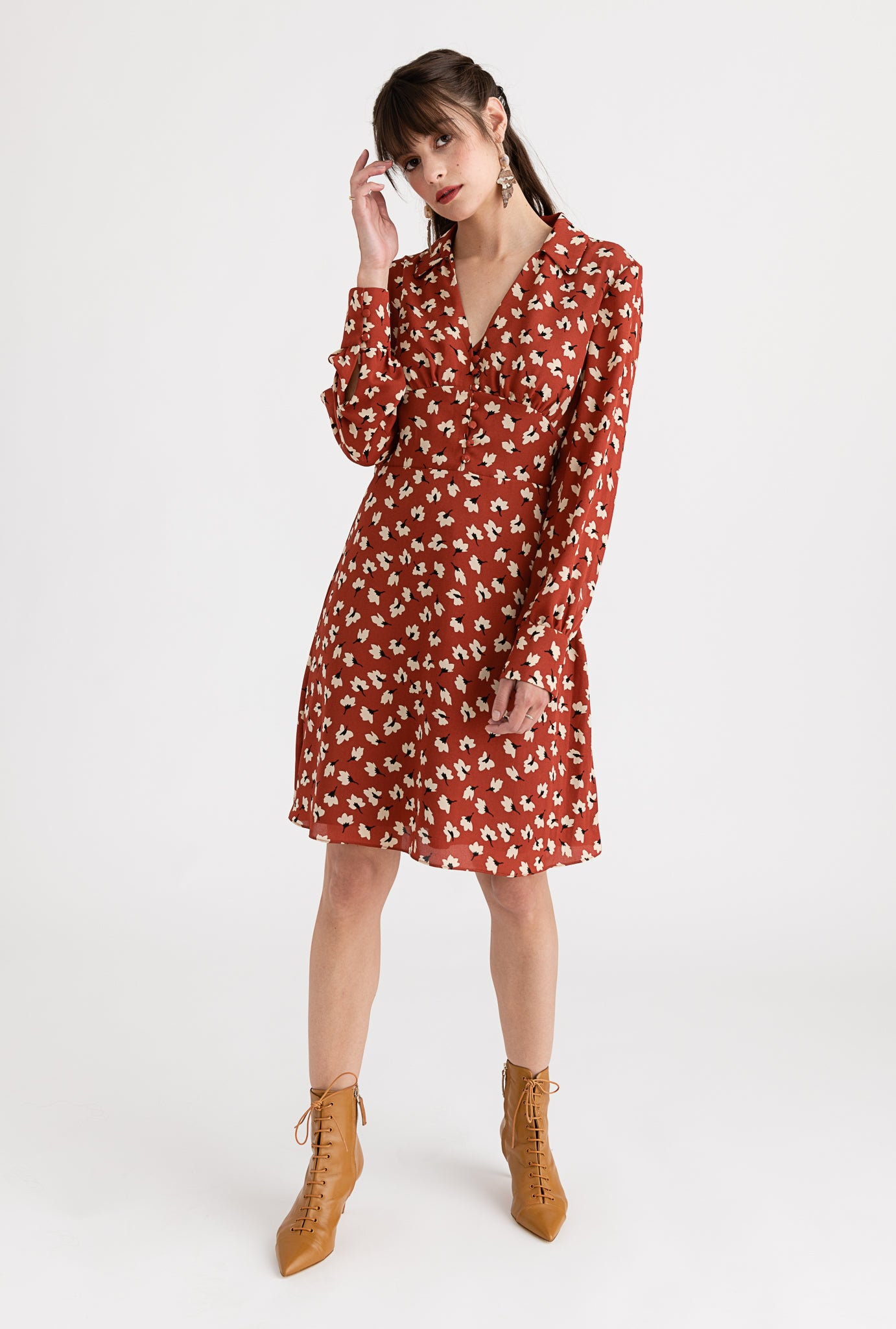 Ada Dress - Rusty Floral - V-neck floral midi dress - Petite Studio NYC