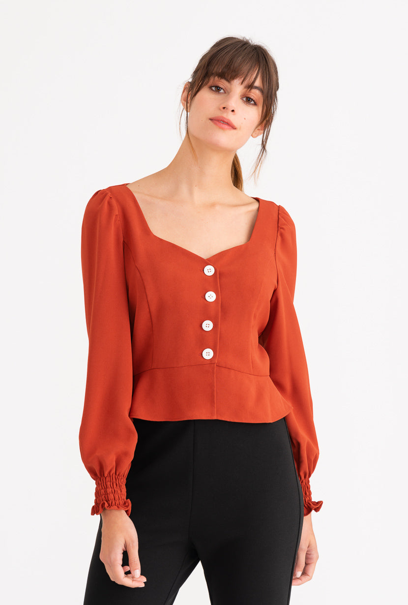 Marjory Top - Cherry Red-tops-Petite Studio