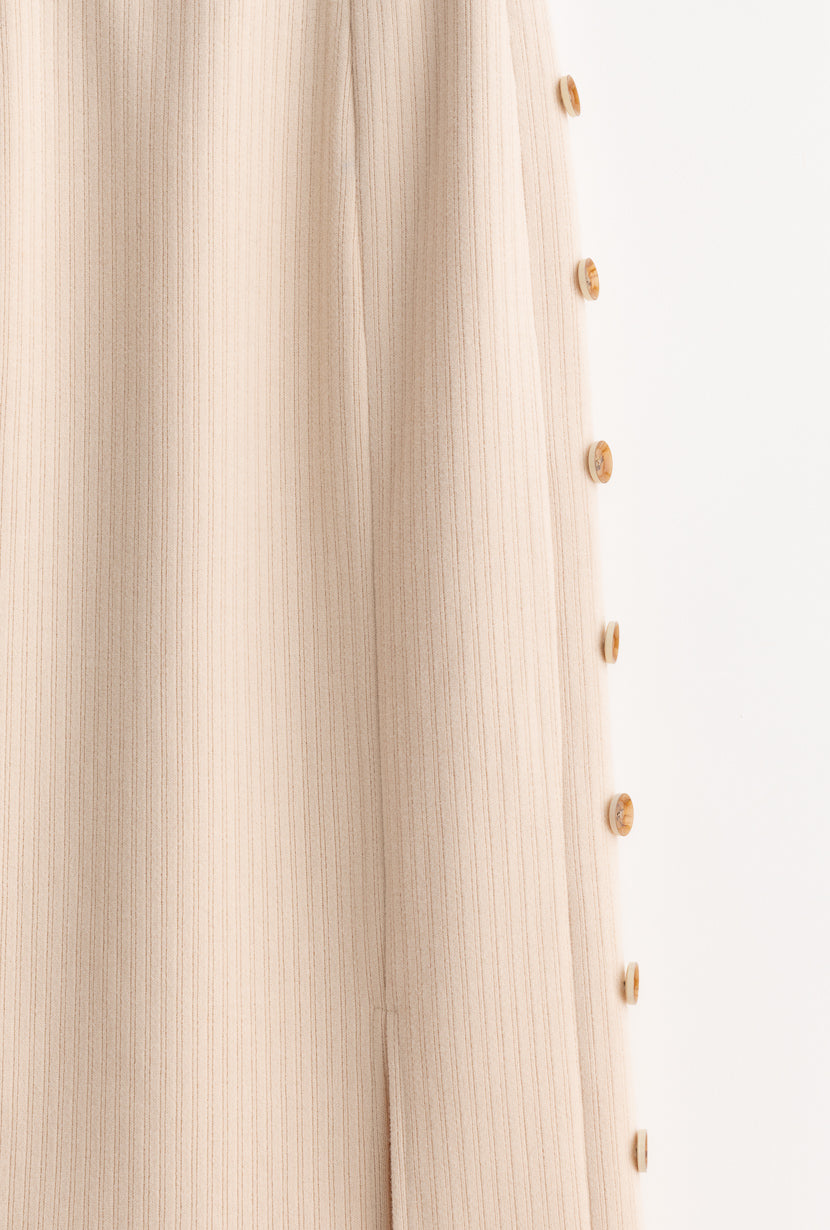 Agnes Skirt - Oatmeal - Beige pencil skirt with side button details and slits in the front and back - Petite Studio NYC