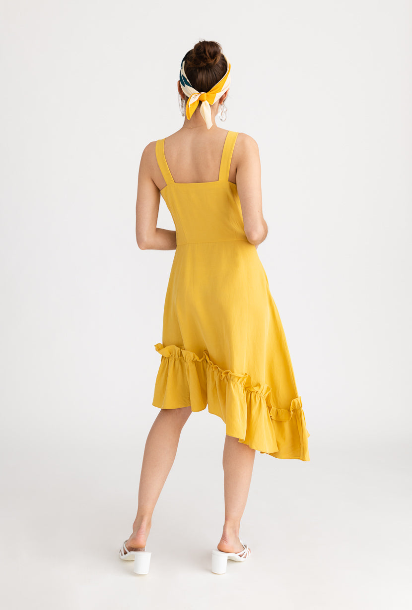 Quinn Dress-Yellow-yellow sleeveless high low midi dress-Petite Studio NYC