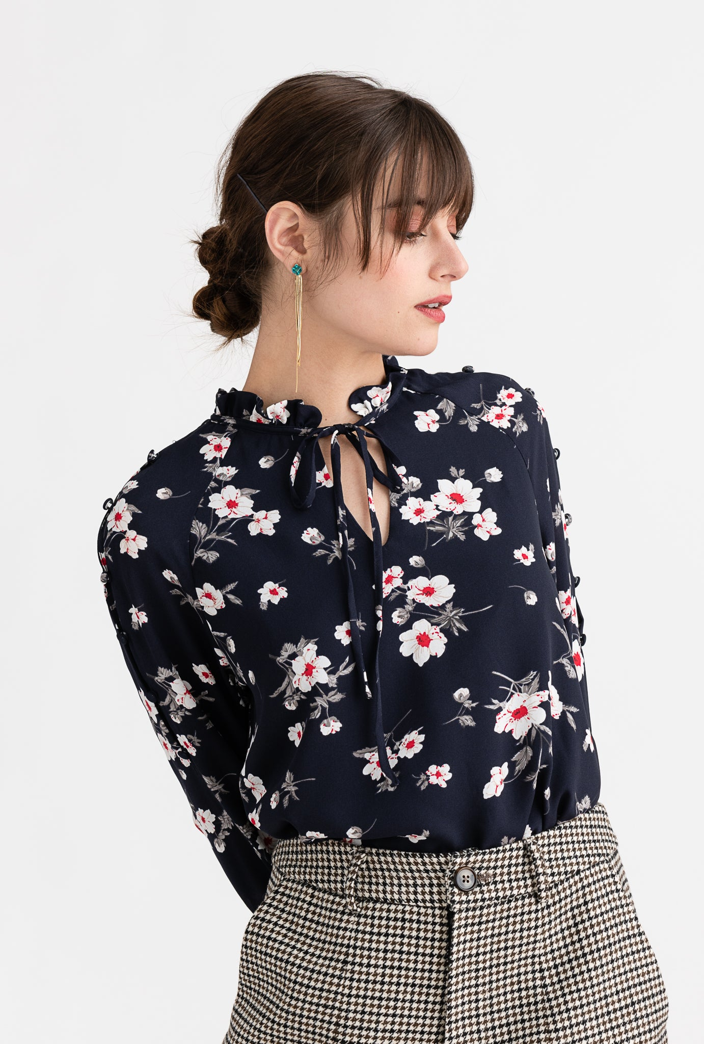 Octavia Top - Navy Floral - Navy floral ruffled neck side-slit long sleeve top - Petite Studio NYC