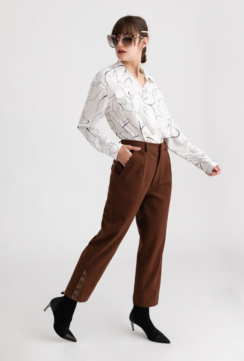 Yolande Pants - Cocoa - Brown button side detailed slim fit suit pants - Petite Studio NYC