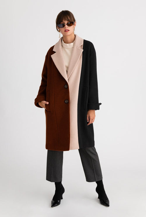 Heidi Wool Coat - Cinnamon & Black - Cinnamon and black vertical color block wool blend coat - Petite Studio NYC
