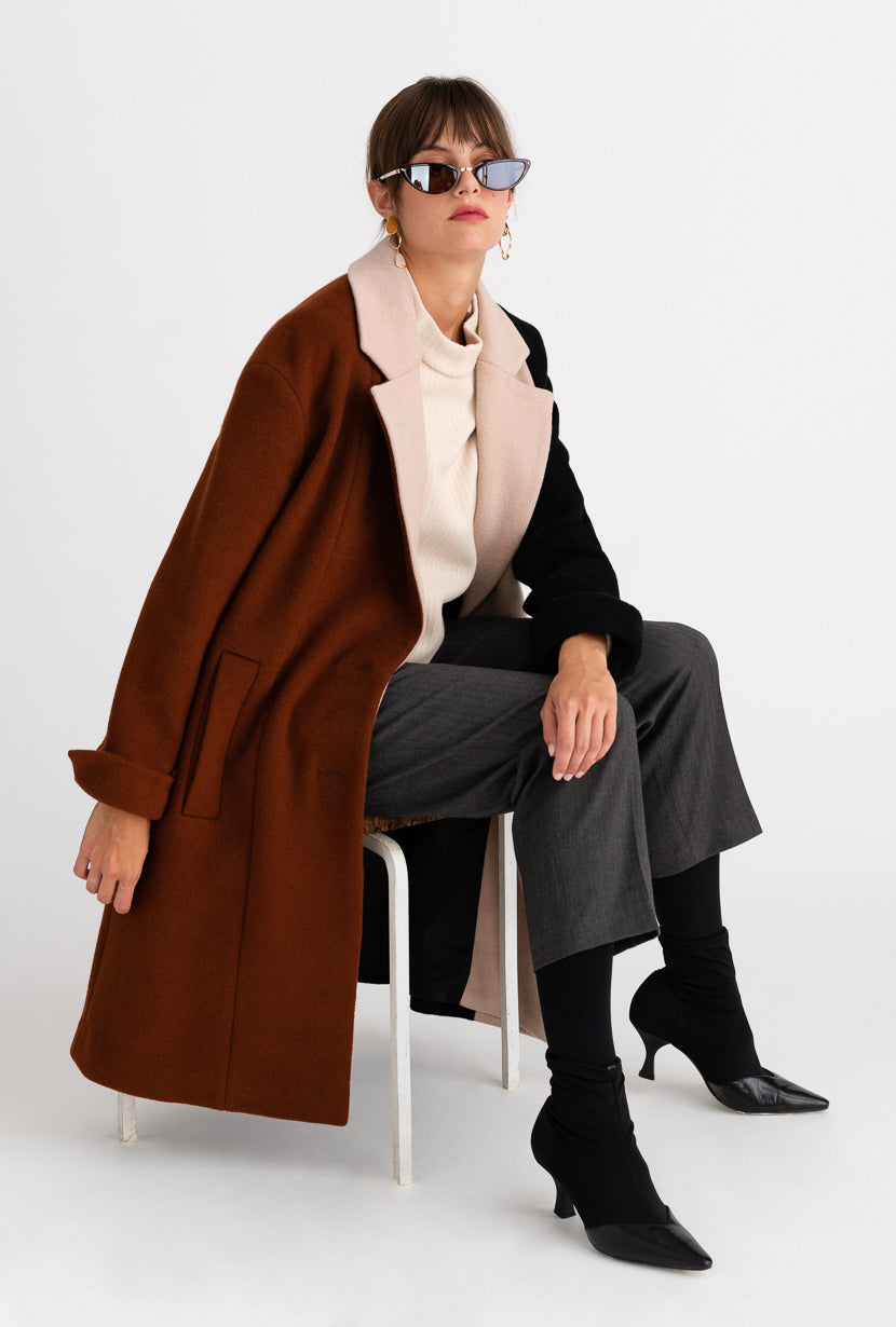 Heidi Wool Coat - Cinnamon & Black