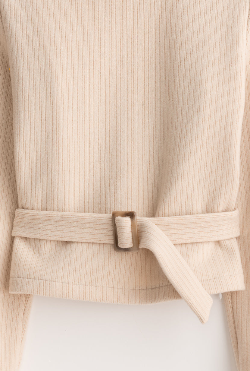 Ingrid Sweater - Oatmeal - Beige mock neck button detailed relaxed fit sweater with detachable waist belt - Petite Studio NYC