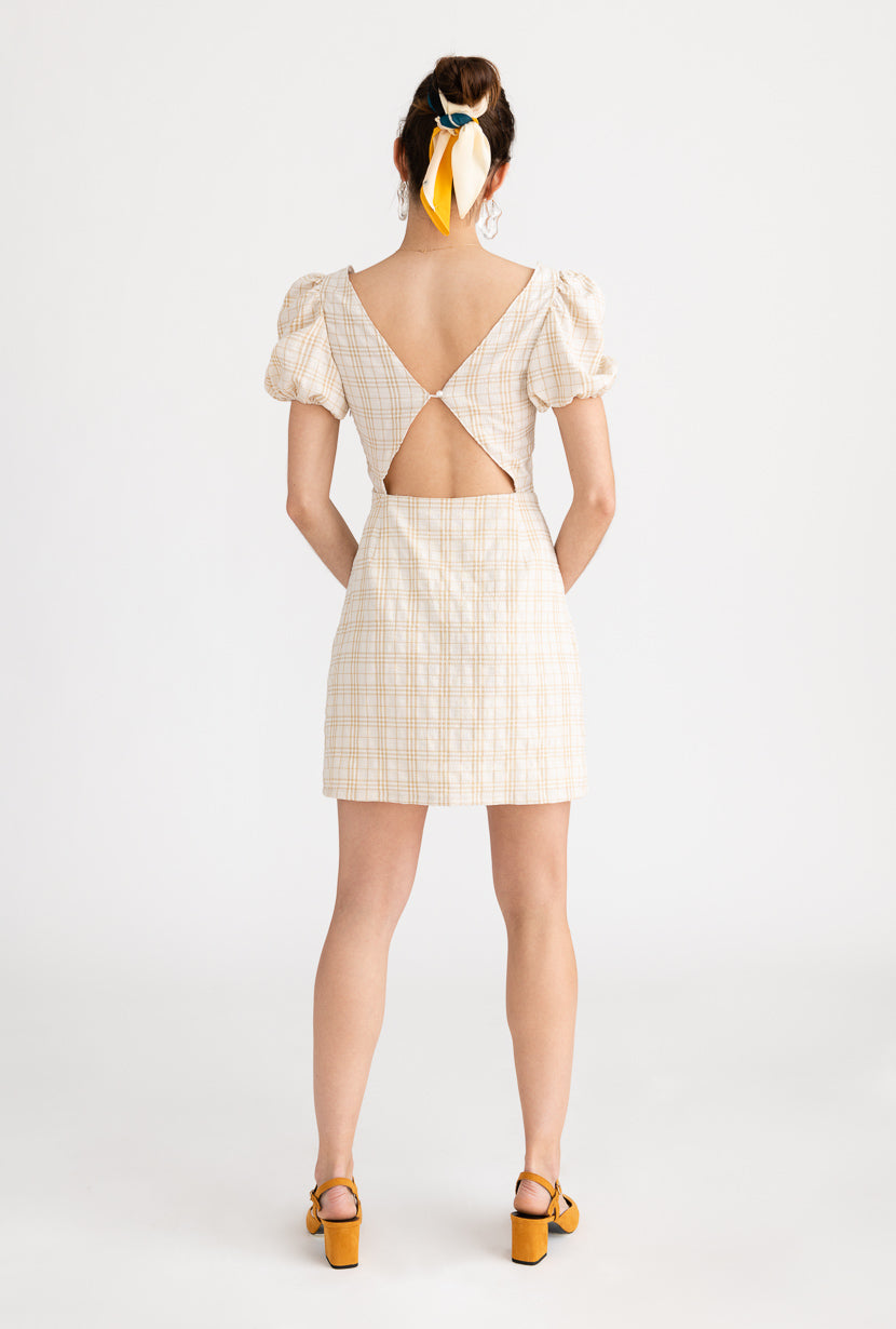 Anisa Dress-Cream-beige mini dress with puffy sleeves and open back - Petite Studio NYC