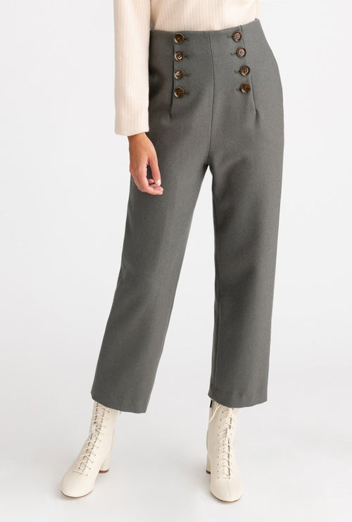Gretel Wool Pants - Dusk -  Dusk high waisted slim fit wool blend pants with double front buttons detail - Petite Studio NYC