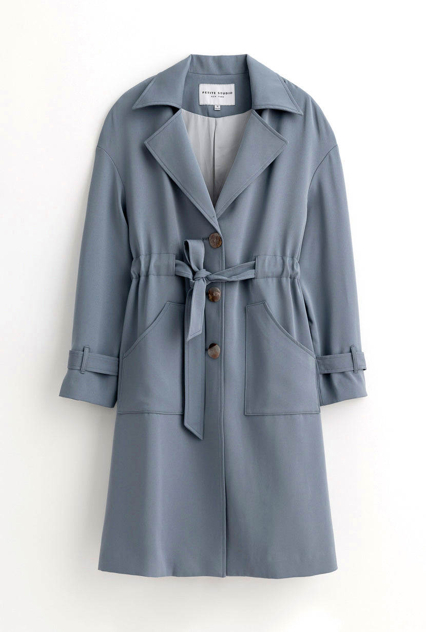 Darcy Trench - Dusty Blue - Flowy drop shoulder trench coat with belt tie - Petite Studio NYC