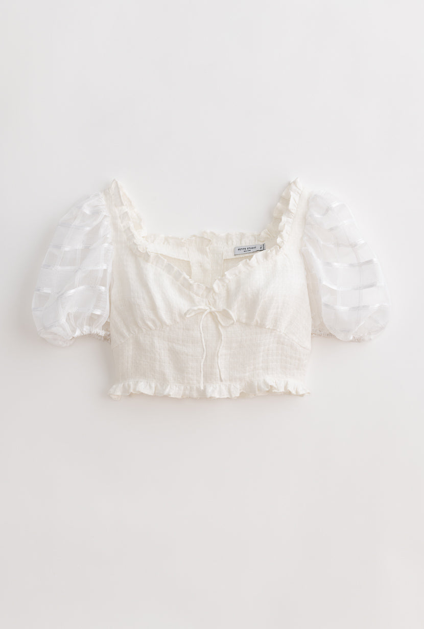 Fuji Top-Ivory-white crop top with puff sleeves-Petite Studio NYC