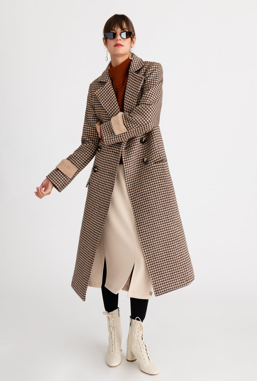 Britta Wool Coat - Chocolate Plaid