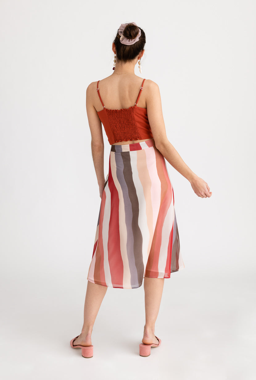 Macey Skirt-Rainbow-pink and red striped print midi skirt-Petite Studio NYC
