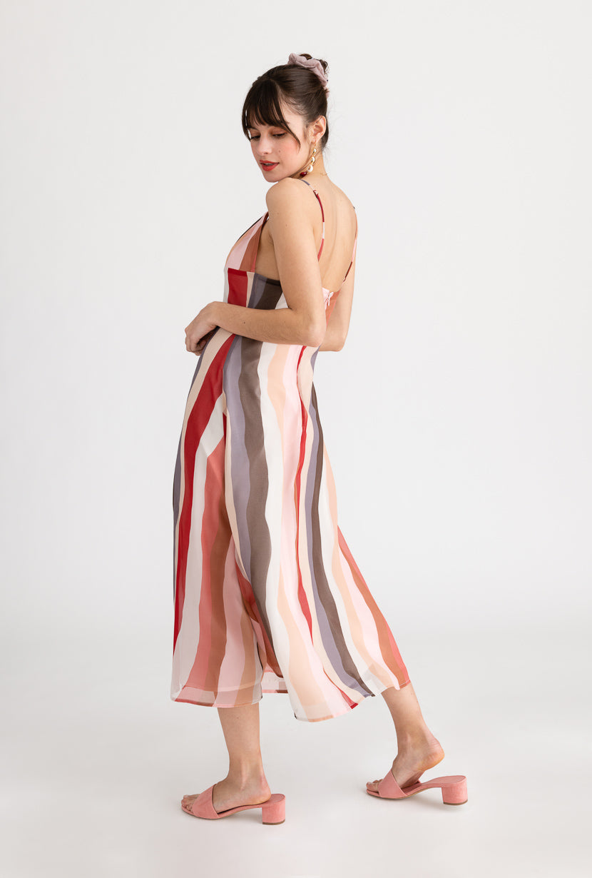 Carly Dress-Rainbow-chiffon pink and red striped print dress-Petite Studio NYC