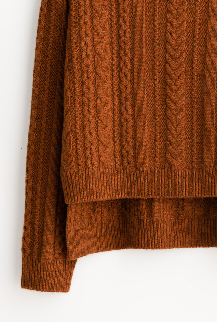 Aubrey Sweater - Burnt Orange - Mock neck burnt orange long and low hem oversized cashmere blend sweater - Petite Studio NYC