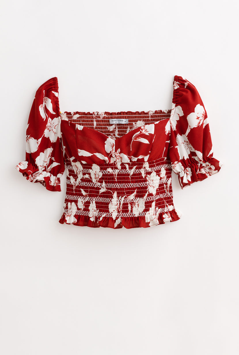 Mallow Top-Red Floral-tops-Petite Studio