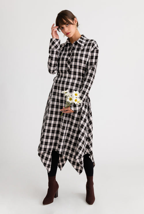 Betty Dress - Plaid - Black and beige plaid asymmetric hem midi dress - Petite Studio NYC