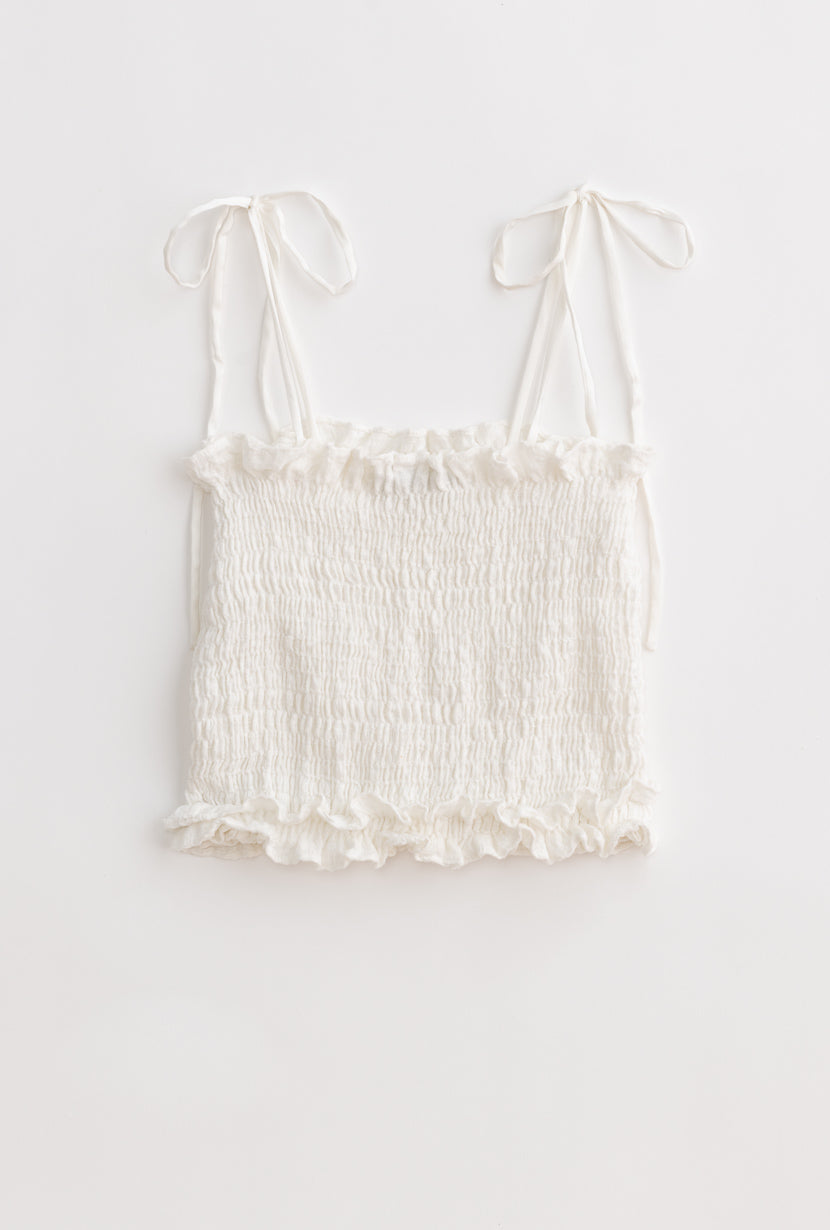 Doris Top-White-white ruffled crop top-Petite Studio NYC
