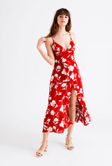 Carly Dress-Red Floral-red floral print slit dress-Petite Studio NYC