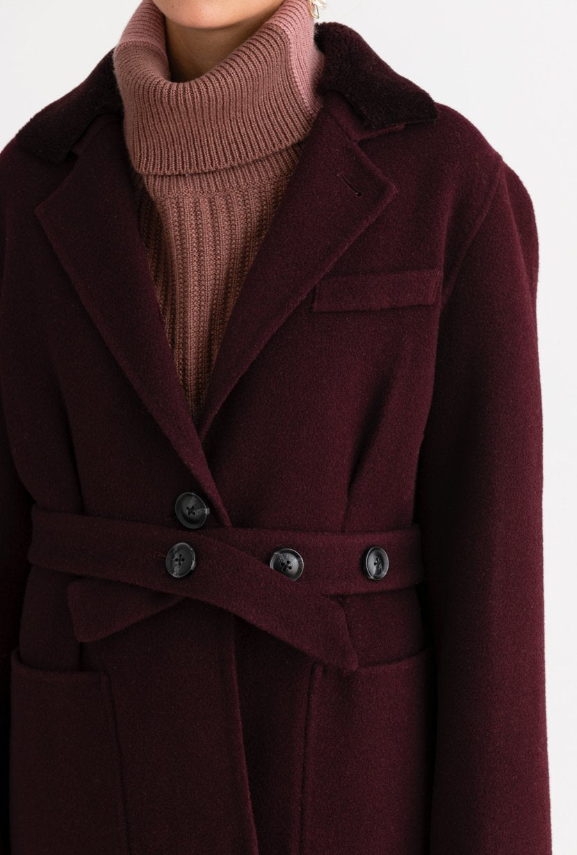 Gigi Cashmere Coat - Plum - Dark purple cashmere blend double wool coat with patch pockets and detachable wool shearling collar - Petite Studio NYC