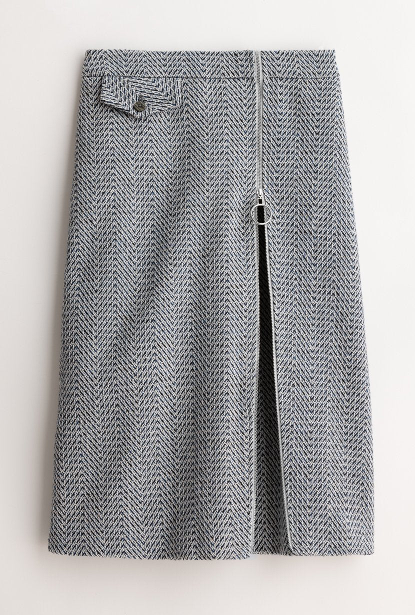 Mercer Skirt - Houndstooth - Houndstooth A-line tweed skirt with adjustable zipper opening in the front - Petite Studio NYC